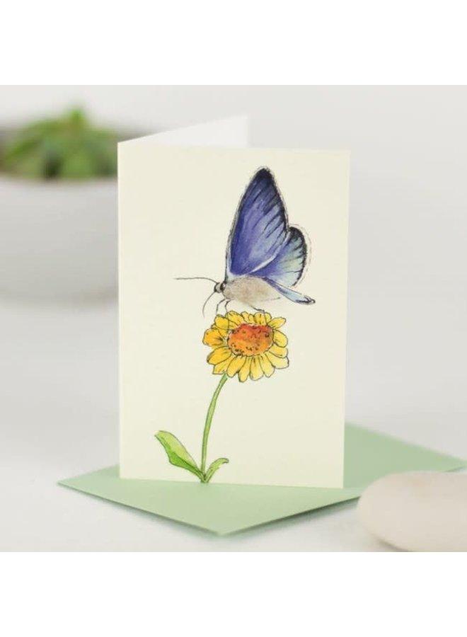 Blue Butterfly on Flower  Mini Card 12
