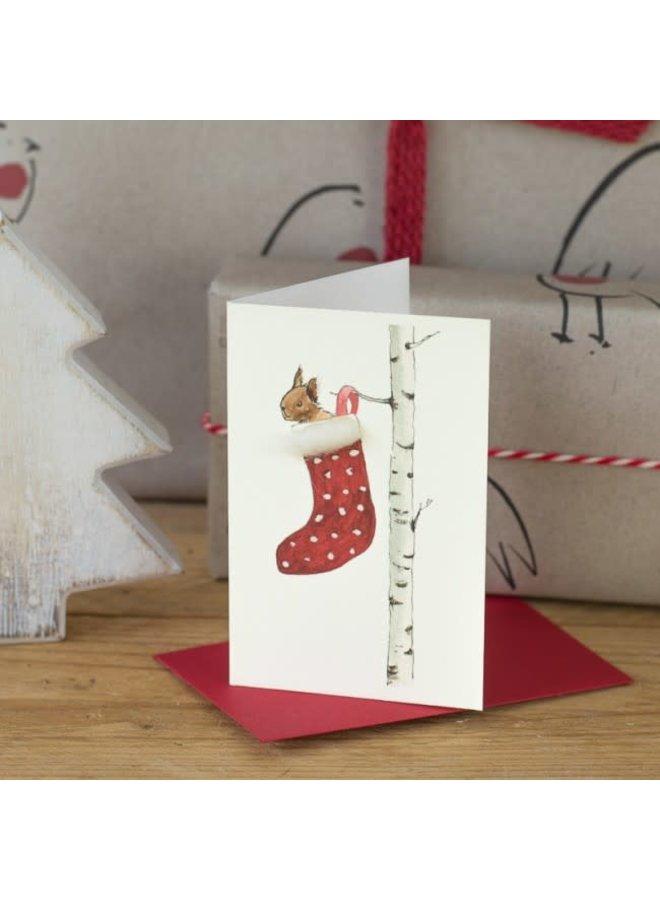 Sqirrel in Stocking Festive  Mini Card 17