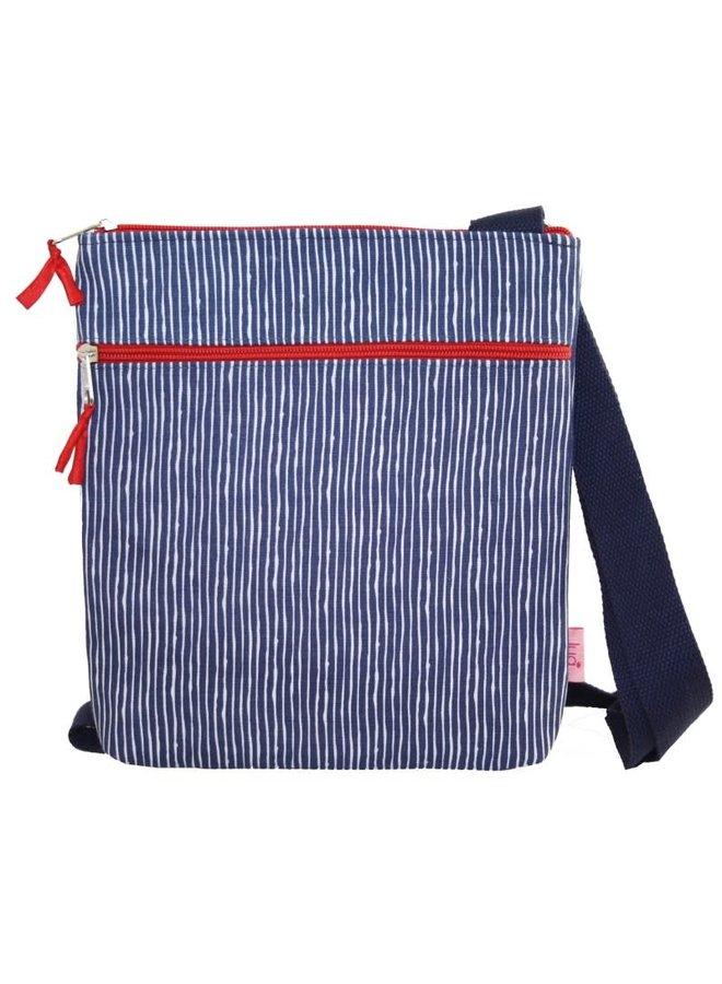 Gestreifte Messinger Tasche Marineblau und Rot 458
