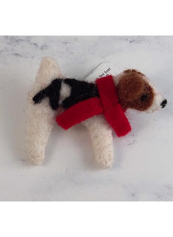 Hund mit rotem Schal Filzbrosche 49