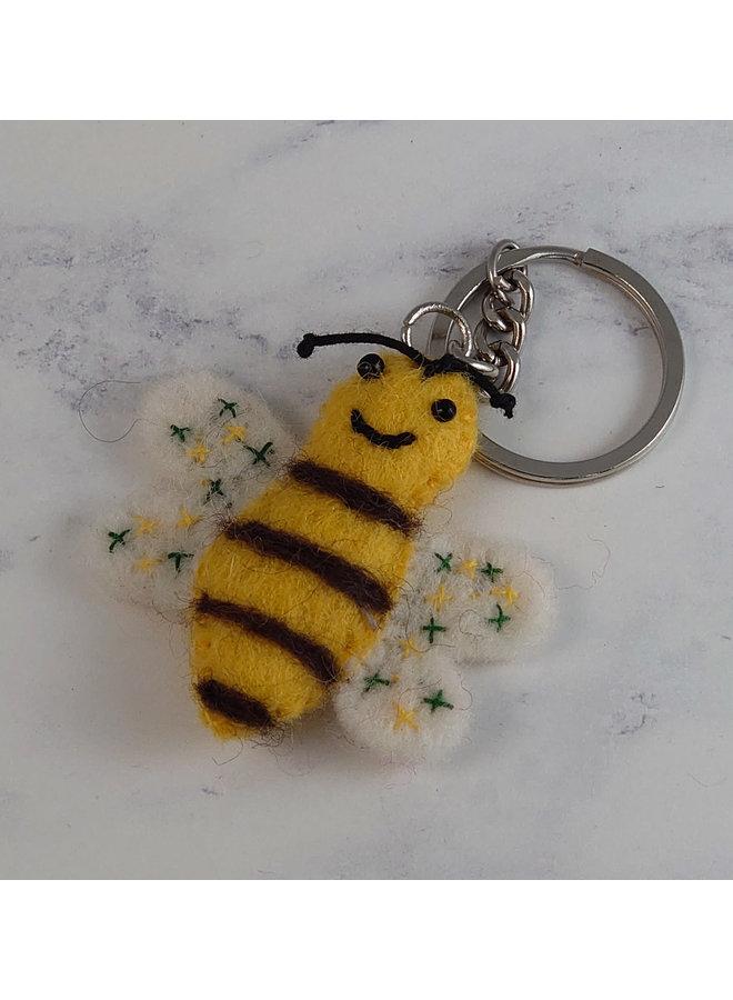 Bee with White Wings Schlüsselanhänger aus Filz 47