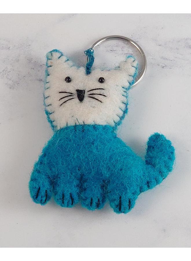 Schlüsselanhänger Blue Cat aus Filz 57