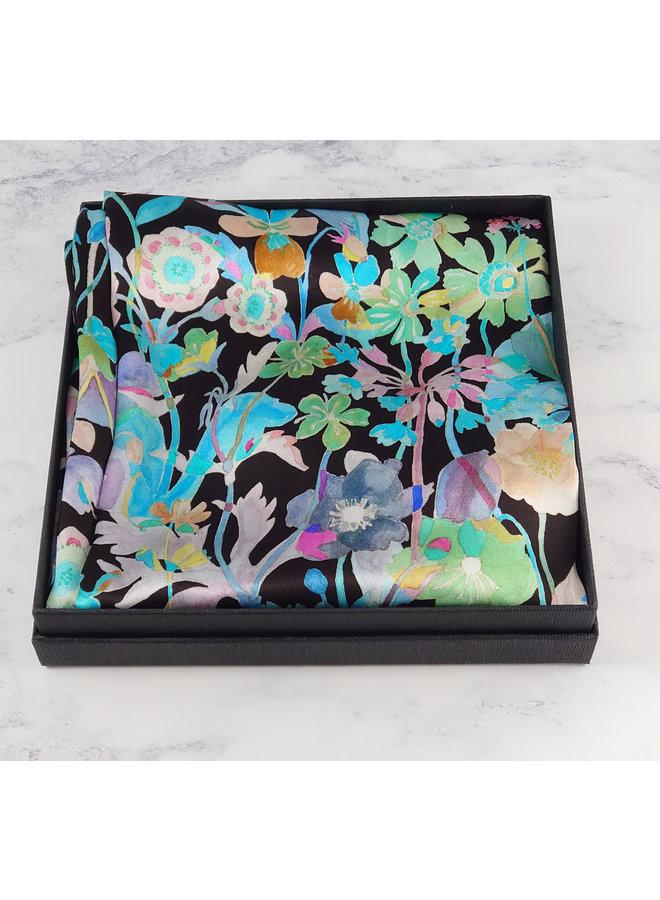 Blue Blooms Satin und Seidenschal mit Magnetverschluss Boxed 121