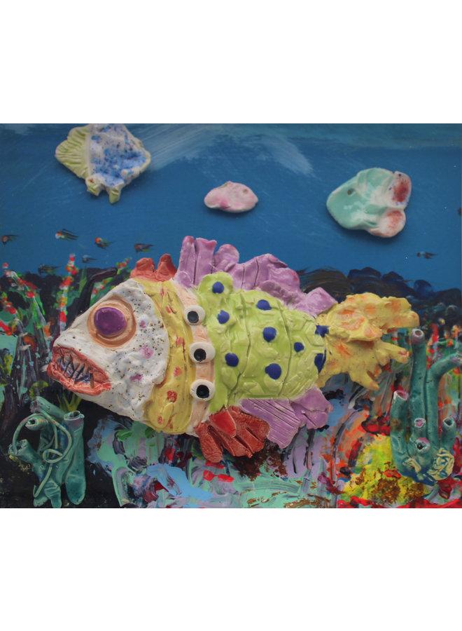 Korallenriff mit grünem Fisch - 35