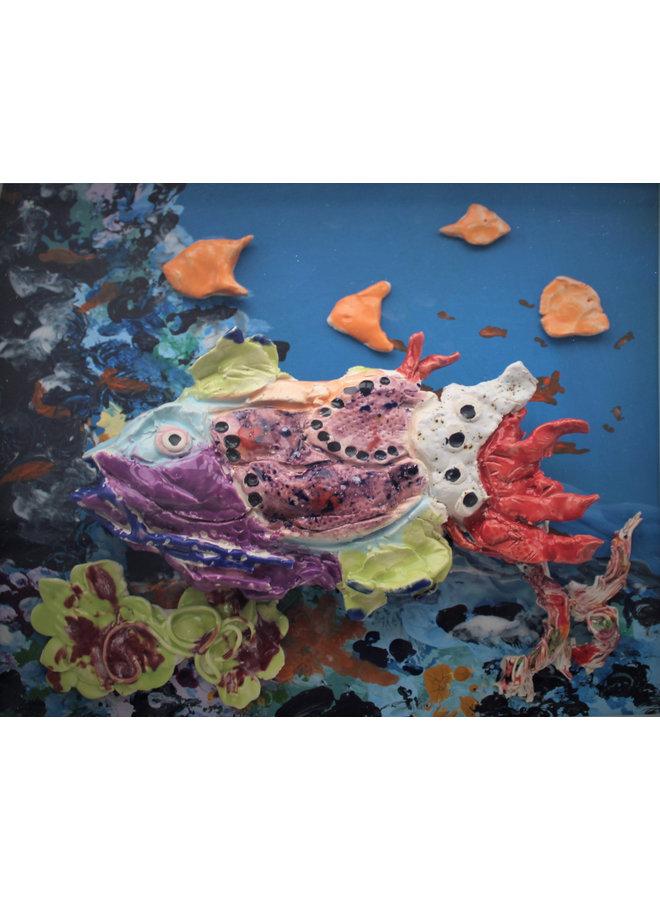 Korallenriff mit lila Fisch - 36