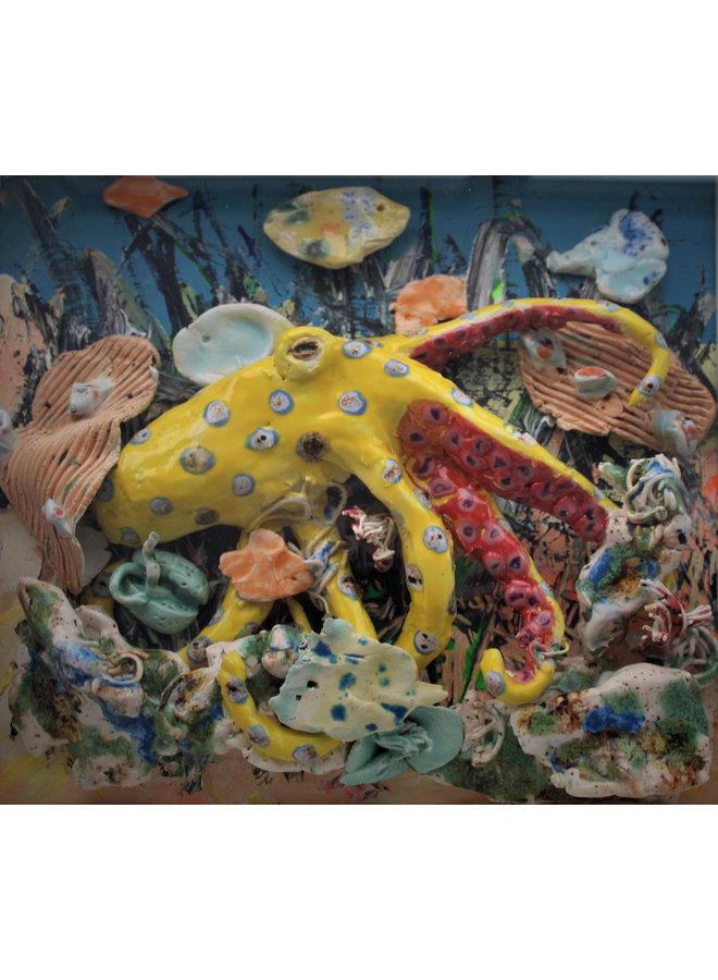 Korallenriff mit gelbem Oktopus - 32