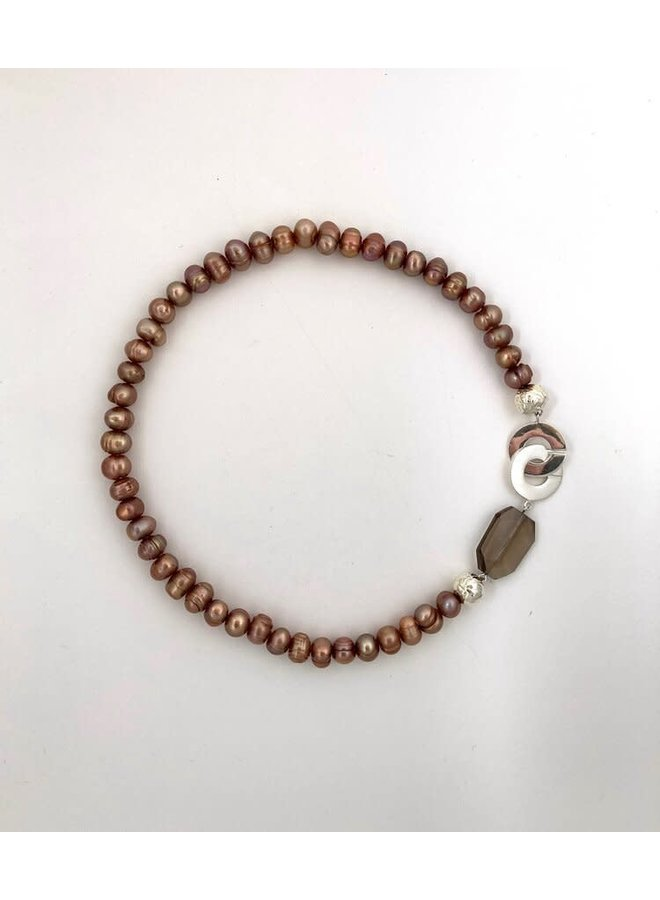 Blasse Bronze Perlenkette 126