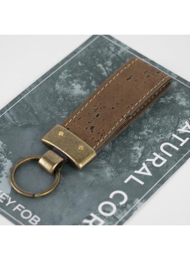 Schlüsselanhänger aus Kork und Messing dunkel 05