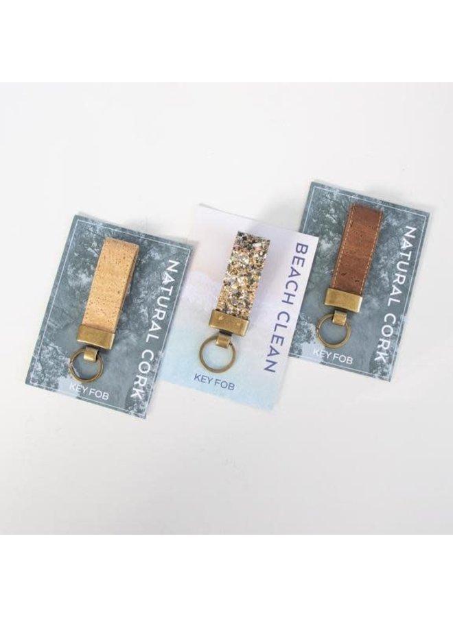 Schlüsselanhänger aus Kork und Messing Natur 06