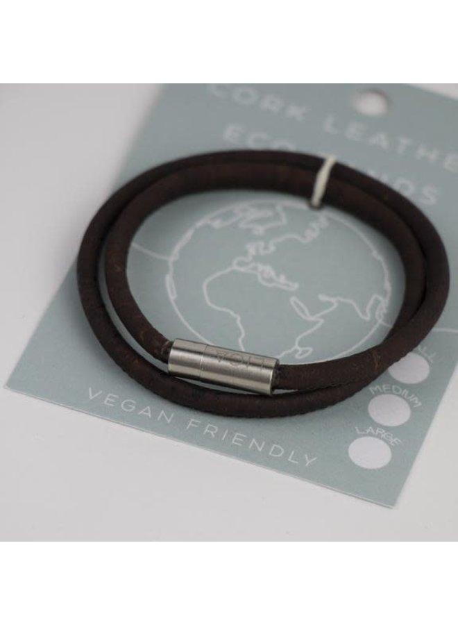 Eco Kork Doppelmagnetarmband geräuchert Medium 20
