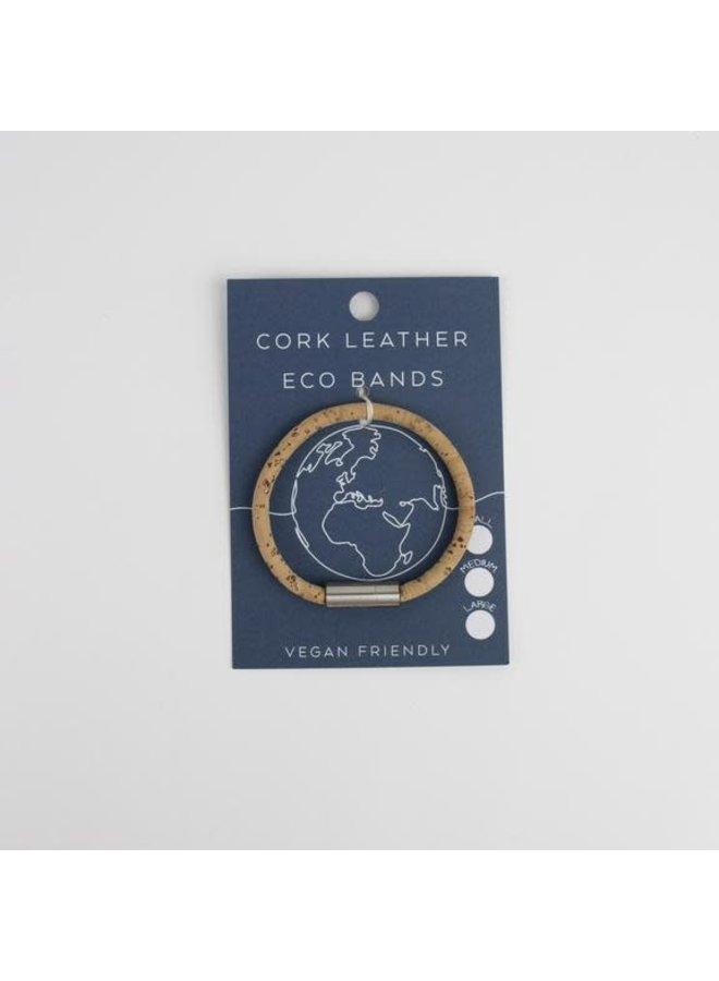 Eco Kork Single Magnet Silber & Natur Armband Medium 35