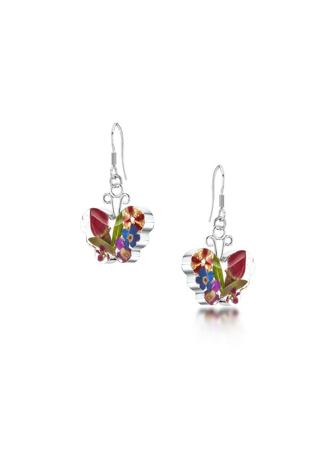 Butterfly mixed flower and silver  earrings 146