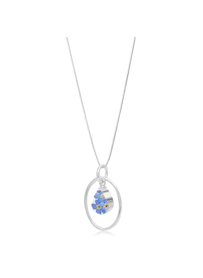 Forget-me-not Teardrop and oval silver hoop necklace  147