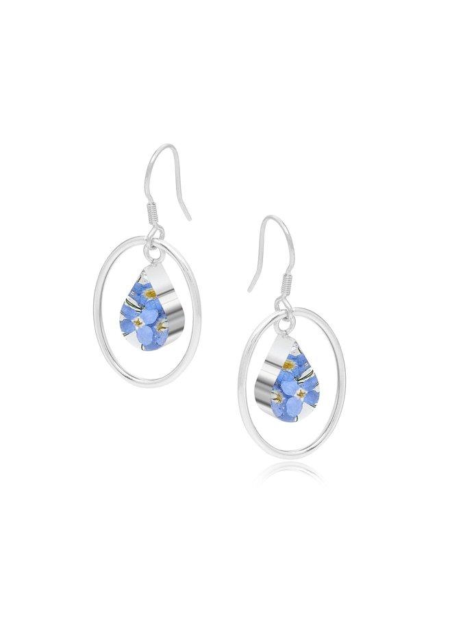 Forget-me-not Teardrop and silver oval hoop earrings 145