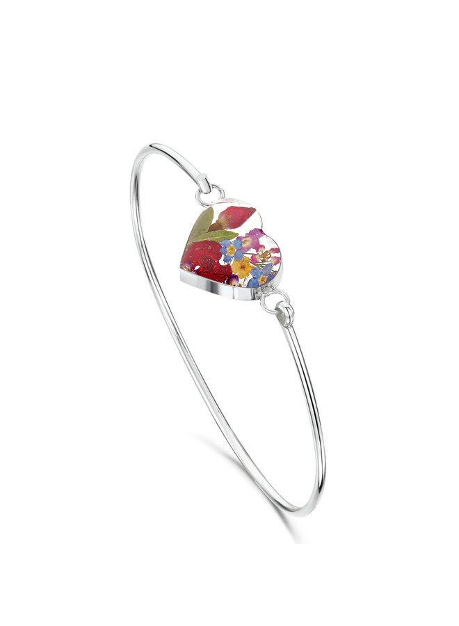 Heart Mixed Flower  Bangle silver 135