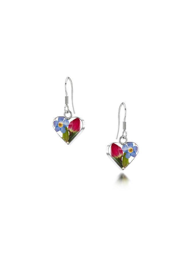Heart small mixed flower drop earrings 140