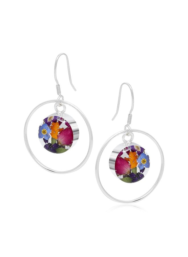 Mixed Flower and silver round hoop earrings 144