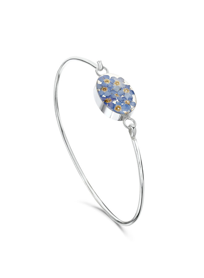 Oval forgetmenot Bangle silver