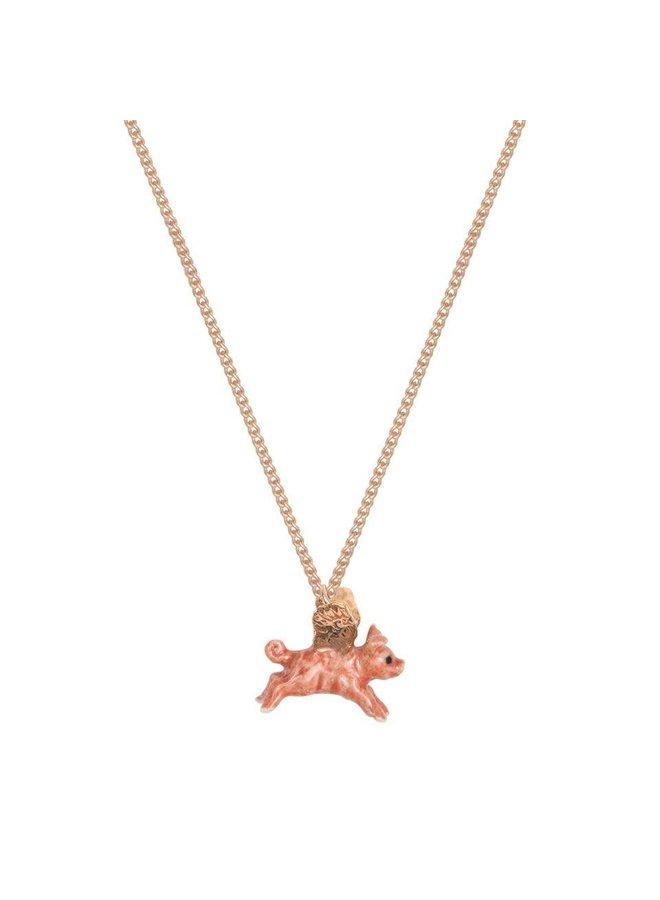 Flying Pig with Gold Wings Halskette handbemalt 107