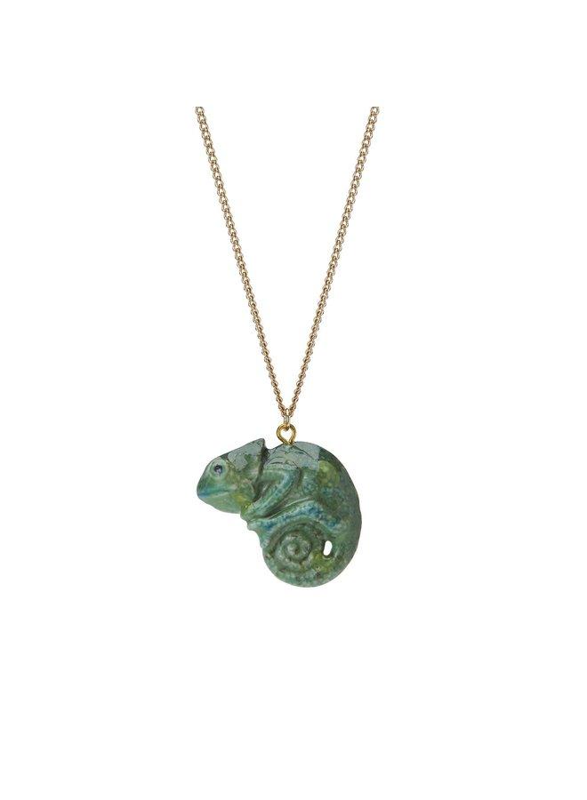Grüne Cameleon Halskette handbemalt 108