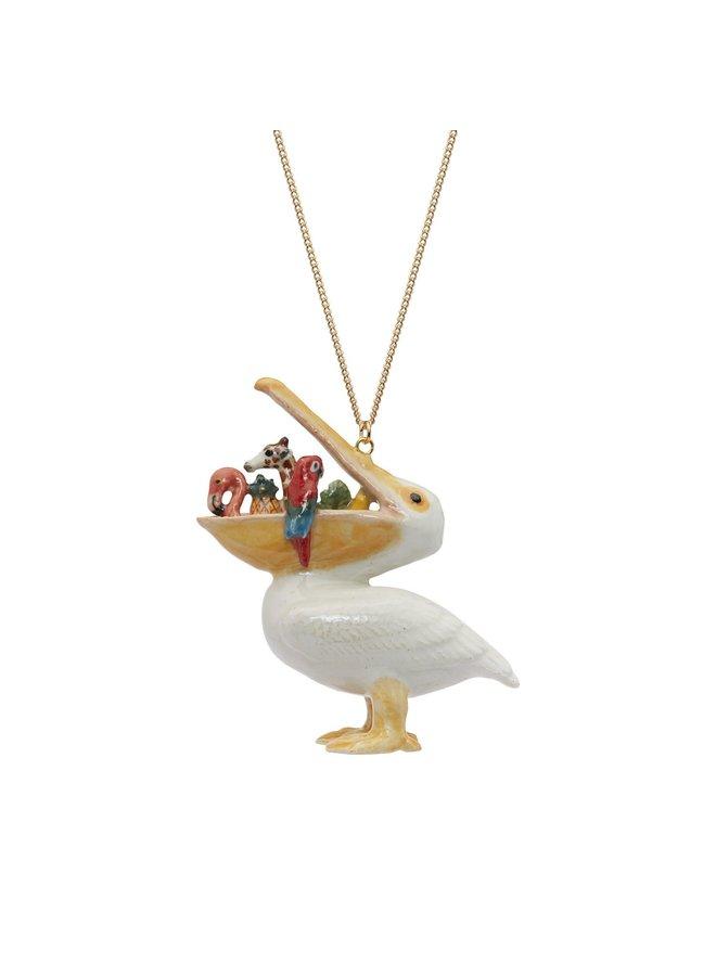 Hungriger Pelikan Halskette handbemalt 105