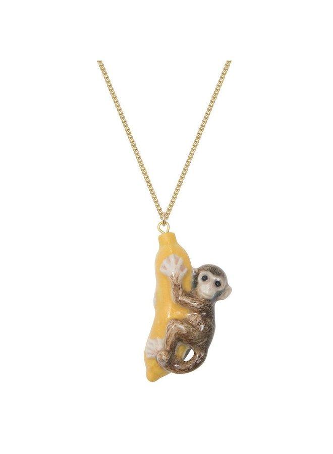 Affe und Banane Halskette handbemalt 109