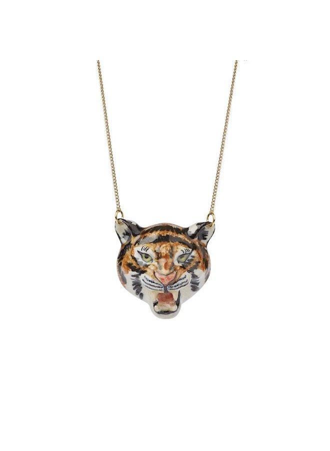 Brüllender Tigerkopf Halskette handbemalt 103