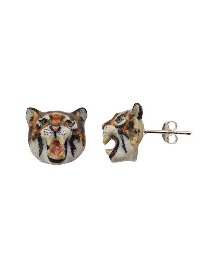 Brüllender Tiger Ohrstecker aus Porzellan 118