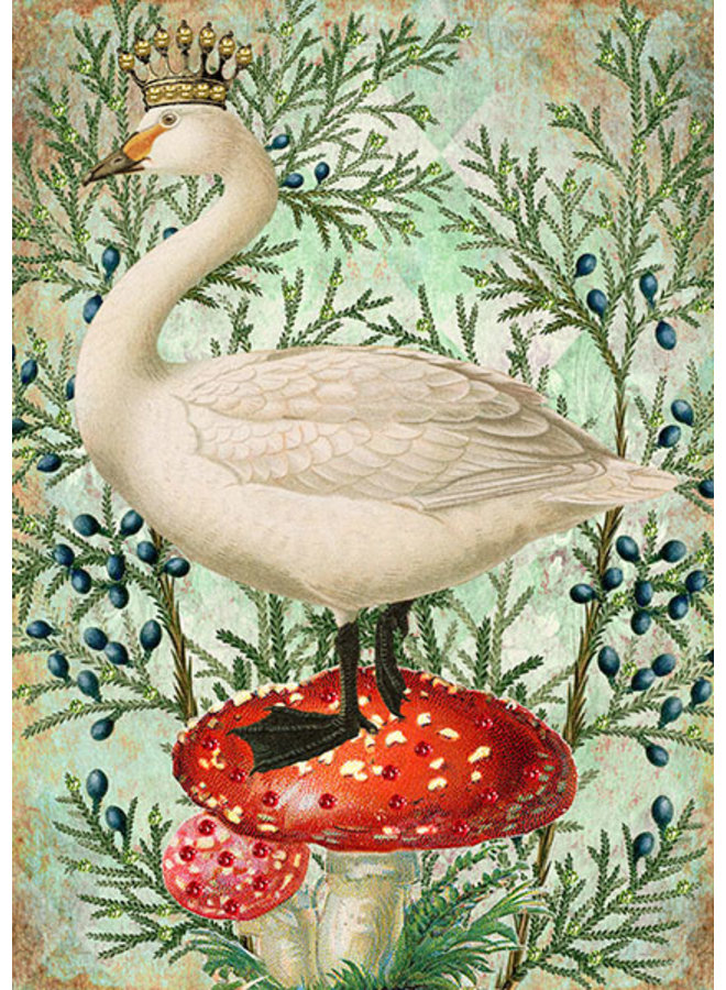 Goose and Crown Glitter Card