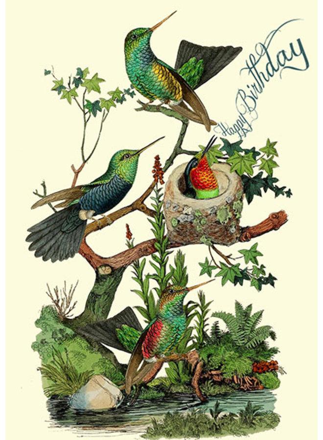The Hummingbirds Happy Birthday Card