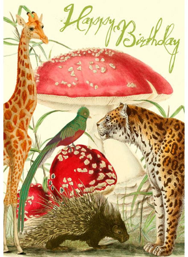 Whimsical Garden  Happy Birthday Card