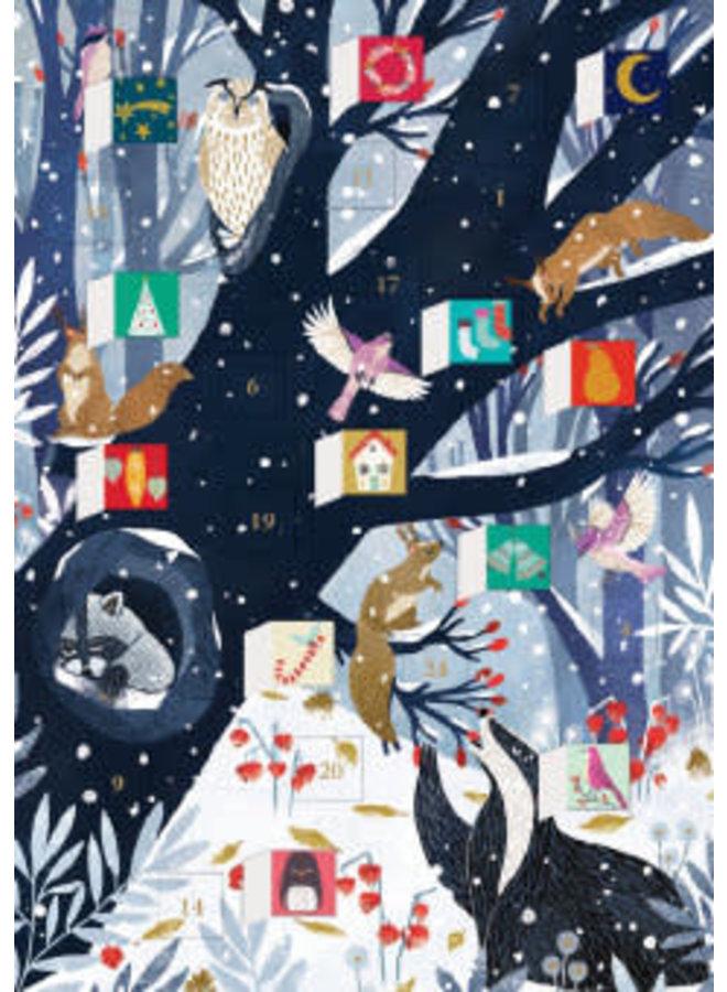 Hollow Tree Hideaway Advent Calendar Card by Oreski