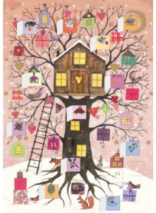 Christmas Tree House Advent Calendar Card by Oreski