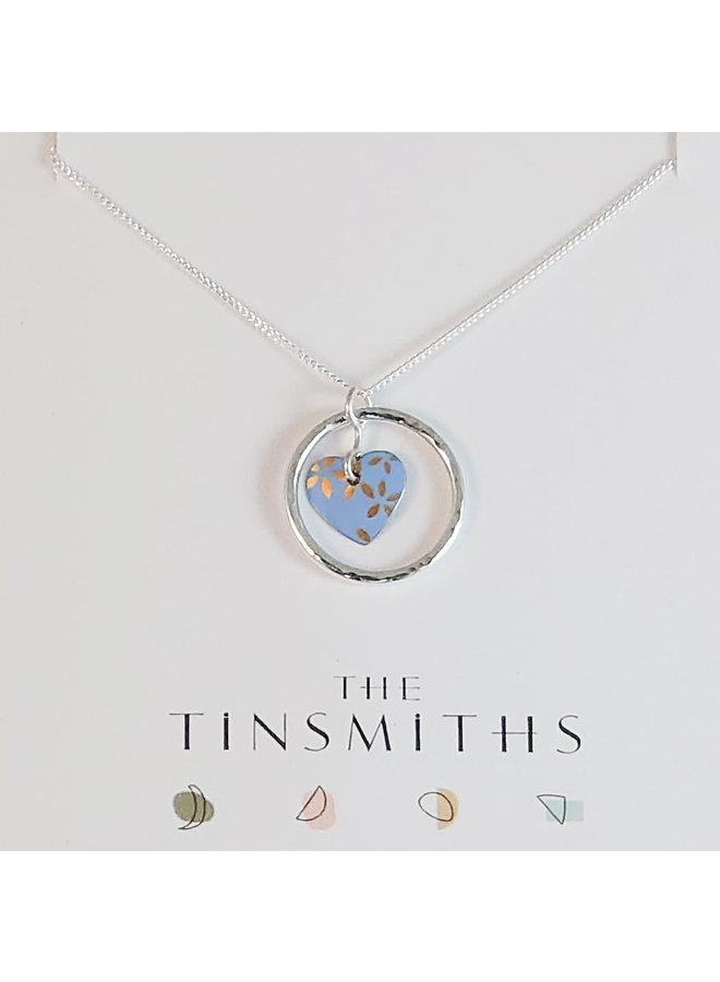 Kyoto SkyJade Herz im Kreis des Lebens Zinn & Silber Halskette 104