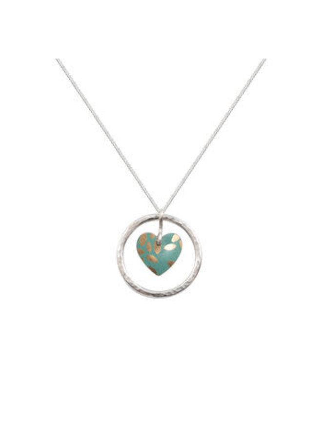 Kyoto Garden Jade Herz im Kreis des Lebens Zinn & Silber Halskette 103