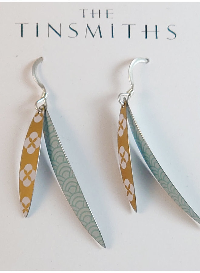 Slim Leaf lange Haken Zinn & Silber Ohrringe 112