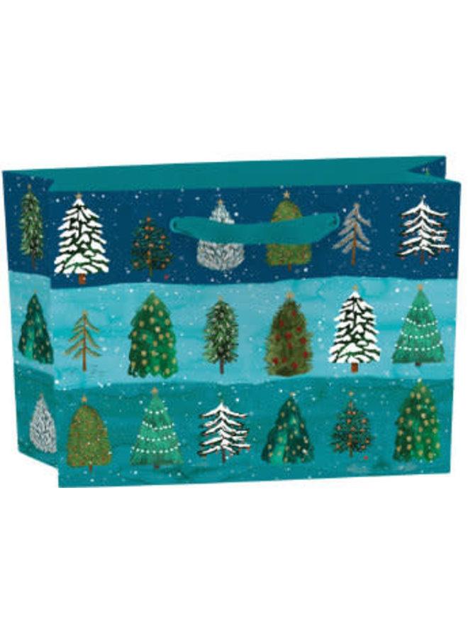 Festlicher Nadelbaum Kleine Geschenktüte mit Band und Geschenkanhänger