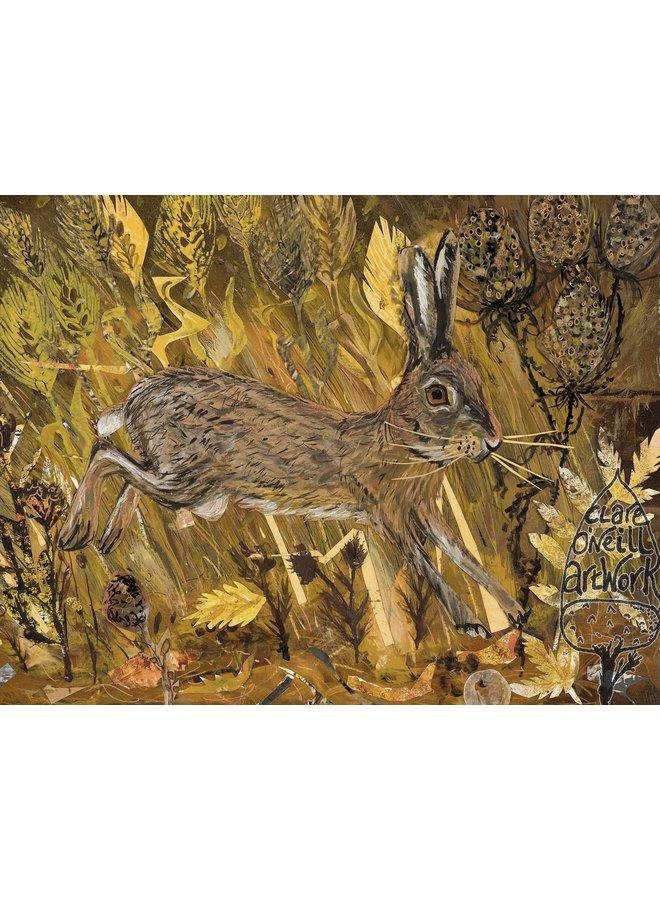 Hase in den Weizenfeldern Große Künstlerkarte 05