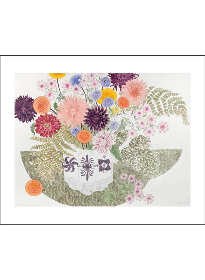 Dahlias, Astrantia and Fern by Angie Lewin