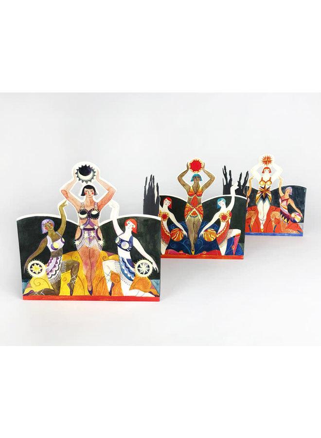 Circul Dancers 3D card by Sarah Young