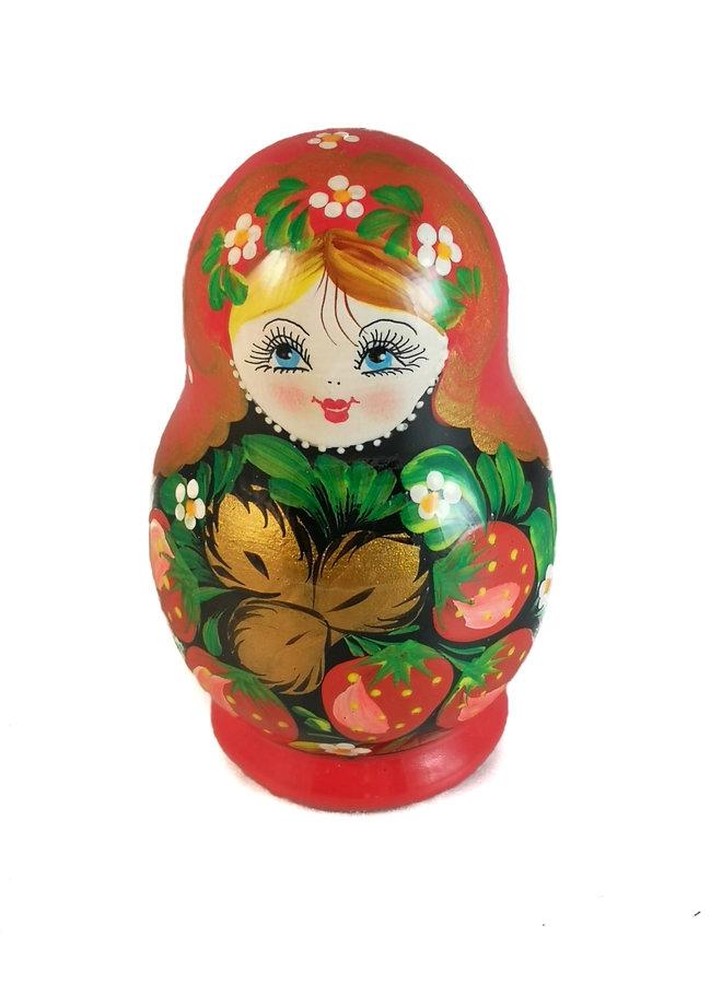 Rote Blumen Traditionelle 5-teilige handbemalte Matroschka Small 136