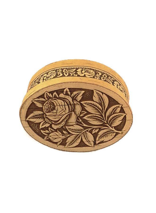 Rose Oval  lidded Birch bark box small 10