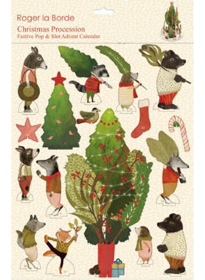 Adventskalender mit Weihnachtsprozession und Slot