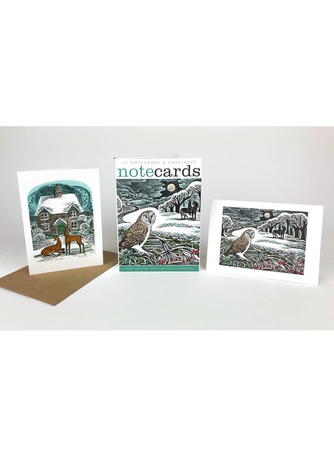 Owl Flight and Christmas Cottage 10 Notecards byRavilious and Bawden