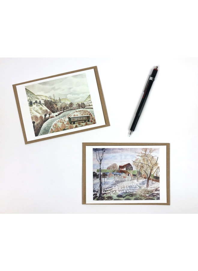 Snow and Barns  10 Notecards byRavilious and Bawden