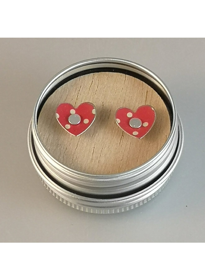 Heart dotty red  tin & silver stud earrings 119