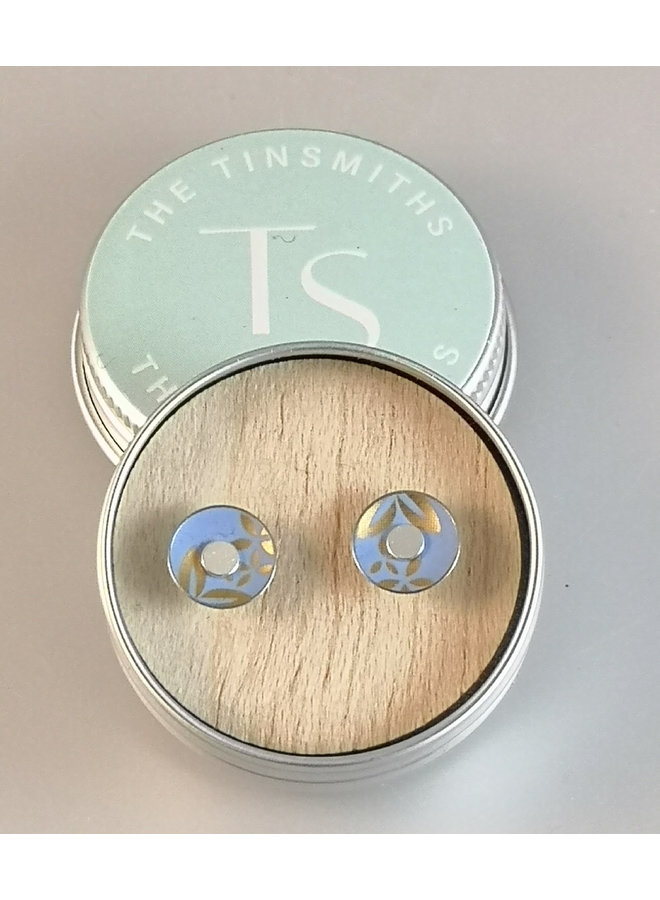 Kyoto  round  tin & silver stud earrings 117