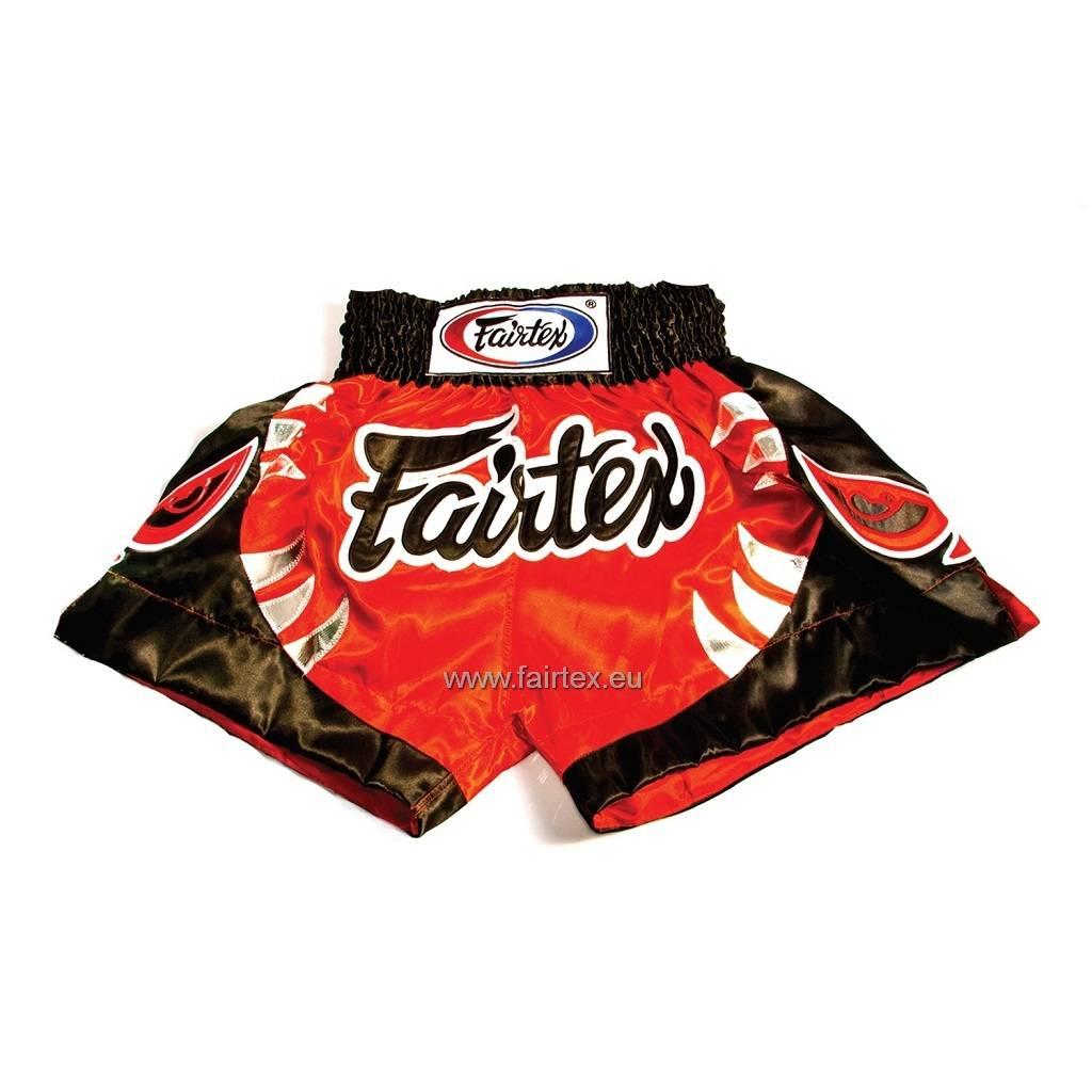 """Fairtex BS0611 """"Bite"""" Satin Woven Muay Thai Shorts - Red/Black"""
