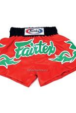 """Fairtex BS0633 """"Green Shiny Thai Art"""" Satin Woven Muay Thai Shorts - Red"""