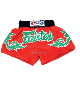 "Fairtex BS0633 ""Green Shiny Thai Art"" Broekje - Rood"